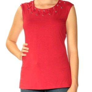 INC jewel neck top red size L